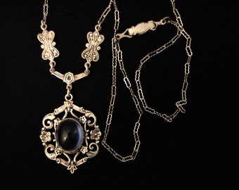 Antique Victorian Blue Glass Silver Lavalier Necklace