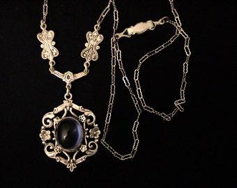 Vintage Art Nouveau Art Deco Blue Glass Lavalier Necklace