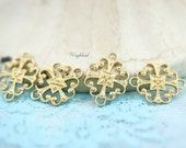 Floral Raw Brass Filigree Charms Connectors Links - 6