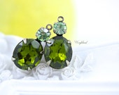 Vintage Stones 1 Ring 19x10mm Silver Antique Brass Prong Settings Olive & Chrysolite - 2