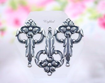 Art Deco Antiqued Silver Filled Filigree Stamping Floral Botanical Flower Charms 24x15mm Connectors Links - 2