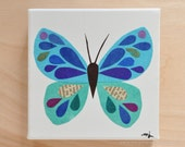 Original Paper Collage on Canvas - Royal Blue & Turquoise Butterfly - One of a Kind by Megan Jewel