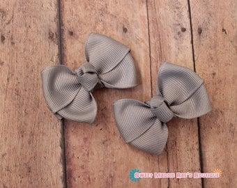 Girls Hair Bows-Millennium Silver--2 Inches