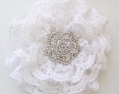 Sale Wedding Holiday White Vintage Lace Shimmer Bling Rosette Flower Hair Clip Great Beach Photography Prop