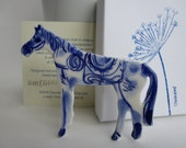 Blue and white Horse - Handpainted Porcelain brooch