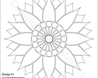 Stained Glass Mosaic Flower Template