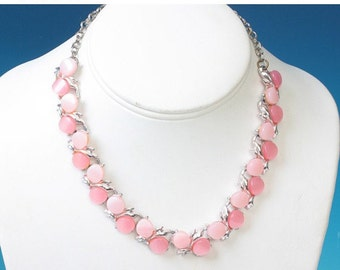 CIJ Sale Pink Moonglow Choker Necklace Vintage Silver Tone PInk Lucite