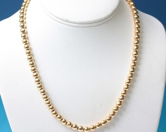 Napier Gold Tone Bead Necklace 18 Inch Strand Vintage