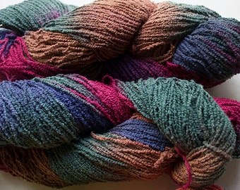 Organic Cotton Boucle, hand painted yarn,  225 yds - Renaissance