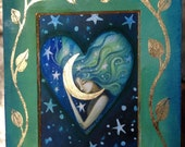 ACEO original tiny painting and collage  by Amanda Clark. The Moon and the Stars.