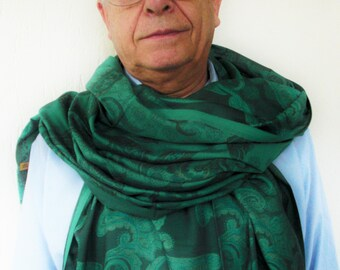 Mens Scarf mens paisley   Scarf-  Green  scarf  - Spring Summer  Scarf  -  gift for men  GrandFather Gift Spring Summer fashion  Accessories