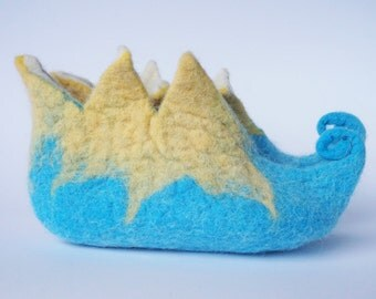 """Felted wool slippers-""""Elves"""" slippers for kids-Turquoise Blue, Yellow booties-house shoes-felted slippers- Handmade to Order"""