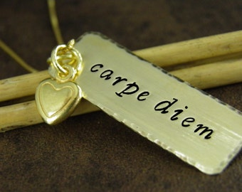 CARPE DIEM Necklace - Necklace with Quote , Rectangle Pendant with Chain