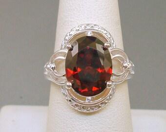 Sterling Red Rhinestone Ring