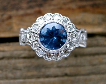 Light Blue Sapphire Engagement Ring in 14K White Gold with Diamonds in Flower Blossoms and Leafs on Vine Size 4.5