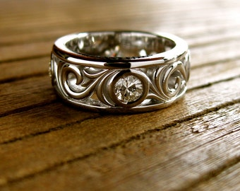 Wedding Ring with Reclaimed Diamonds in 14K White Gold with Vintage Style Scroll Work and Glossy Finish Size 3.5/7mm
