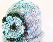 SALE 30% OFF - Photo Prop Baby Hat, Crochet Double Flower, Hand Knit Hand Dyed Premium Merino Wool, Aqua Blue Teal