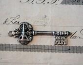 Antique French Eiffel Tower Paris Souvenir Key Pendant 21st Gift Coming of Age