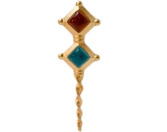 1980s Brushed Gold Tom Metal with Amber and Teal Art Glass Oversized Sceptre Scepter Ornamental Staff Vintage Brooch Pin