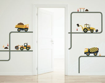 Four Construction Vehicles Wall Decals with Straight and Curved Gray Road, Fabric Decals Removable and Reusable