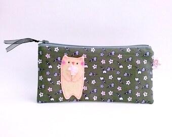 Cute Cat Pencil Case, Pencil Case, zipper pouch, Cat pencil pouch, back to school, Zipper Pencil Pouch, Dark Green, Small Flower