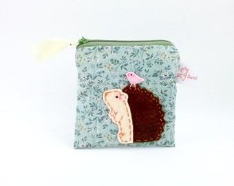 Coin Purse, Hedgehog Pouch, Hedgehog Purse, Pouch, Zipper Pouch, Zipper Coin Purse, Woodland Animal - Cute Gift - Hedgehog