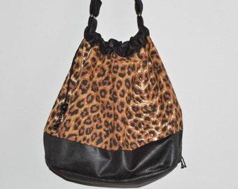 Drawstring bag large shoulder bag leopard print vegan synthetic leather trim lined handmade