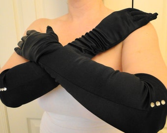 Bridal long opera length Red black nylon gloves gauntlets pearls rhinestones above elbow
