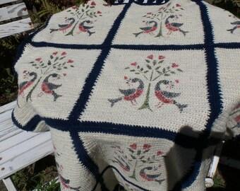 Vintage Antique Crochet Afghan Blanket ~  Shabby Cottage ~ Farmhouse Chic ~ Cottage Prairie Style ~