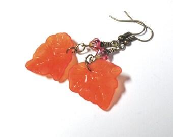 Orange Lucite Leaf Earrings, Leaf Earrings, Fall Earrings, Czech Glass Flower Earrings, Antique Brass