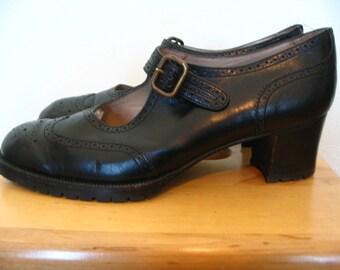 Yanko Downton Abbey Black Leather Oxford Mary Jane Size 9.5 M