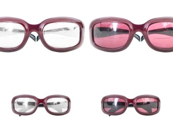 Big Chunky PostModern Escada Eyeglass Frame Faux Metallic Burgundy Designer Aviator Mod Eyeglasses Larger Sunglasses Metal
