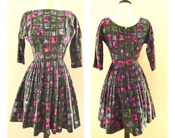 Handmade Vintage 50s Dress Abstract Stained Glass Print Letter Symbols Fall Colors Black Pink Plum Green Pleated Princess Ballerina Atomic