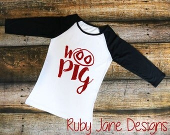 Original Woo Pig Adult Raglan Tee- Arkansas Razorbacks-Woo Pig Sooie-Women's Shirt-Collegiate