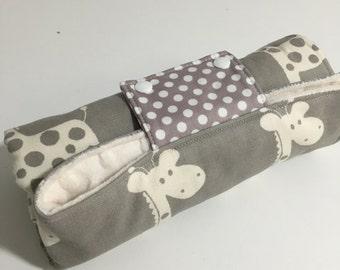 Baby Change Mat - Giraffe with Cream Minky Fabric. New Snap Closure