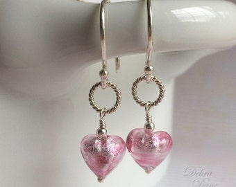 Tiny Pink Heart Earrings, Murano Glass, Sterling Silver, Gifts under 25, Valentine's Day, Little Girl's Jewelry,