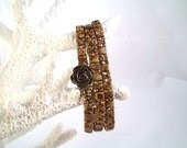 Triple Wrap Bracelet with Beige Picasso CzechMates Tile and Brick Glass Beads