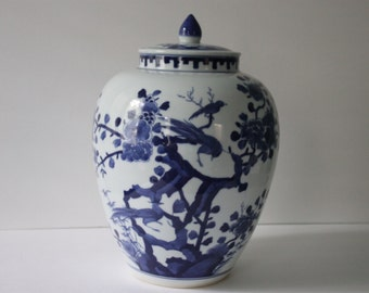 Vintage Blue & White Chinoiserie Bird Ginger Jar