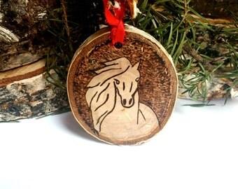 Wood Burned Horse Ornament-Birch Slice Horse Ornament-Tree Slice Custom Ornament