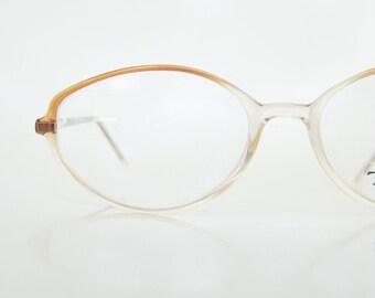 Vintage Diamond Shaped Reading Glasses 1980s Readers Womens Ladies Orange Burnt Sienna Eyeglasses Deadstock NOS New Old Stock 80s