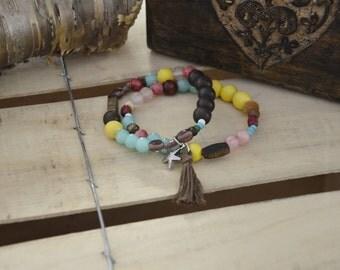 Duo Bracelets jaune turquoise énergie zen bohème