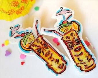 Tiki Earrings, Tiki Jewelry, Tiki Drink Earrings, Pin up Jewelry, Rockabilly Jewelry, Retro Earrings, Retro Style, Earrings, Kitsch Jewelry