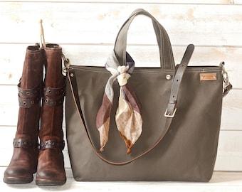 CANVAS  Diaper bag Messenger bag  / Tote / Handbag / Shopping tote /Work bag / Leather straps / Men messenger / Travel bag Zipper  5 Pockets