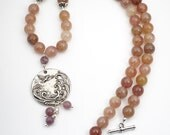 Bird & wave necklace with muscovite beads