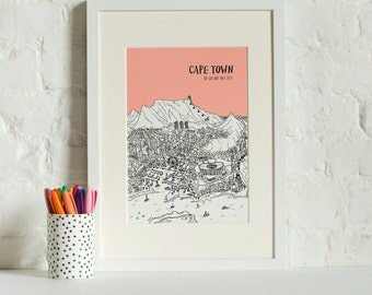 Personalised Cape Town Print | City Illustration | Unique Anniversary Gift | City Skyline | Custom Gift | Interesting Christmas Gift |