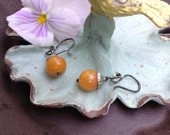 Harvest Stone And Oxidized Silver Earrings