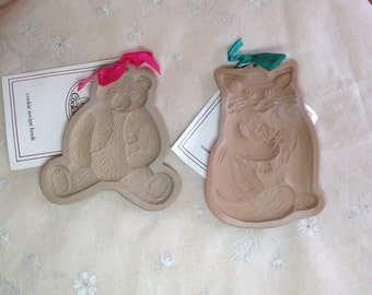 Brown Bag Cookie Mold BEAR and CAT 2 1983, 1984 Baking Crafts