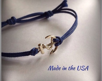 Dainty gold anchor bracelet, nautical bracelet