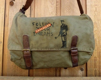 Banksy Dreams - Canvas Messenger Bag - Hand Painted on Alternative Apparel Bag