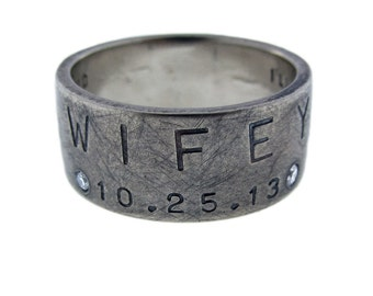 Custom Mens Wedding Ring 14k White Gold Diamond Ring Wide Gold Wedding Band Wifey Ring Hand Stamped Wide Band Handcrafted Savannah Groom